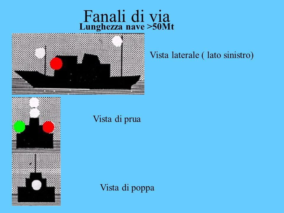 Fanali di via Lunghezza nave >50Mt Vista laterale ( lato sinistro)