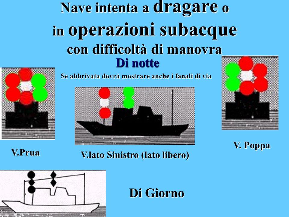 Nave intenta a dragare o in operazioni subacque con difficoltà di manovra