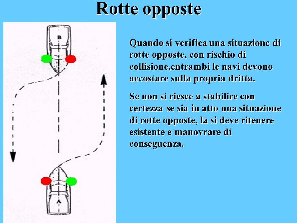 Rotte opposte Quando si verifica una situazione di rotte opposte, con rischio di collisione,entrambi le navi devono accostare sulla propria dritta.