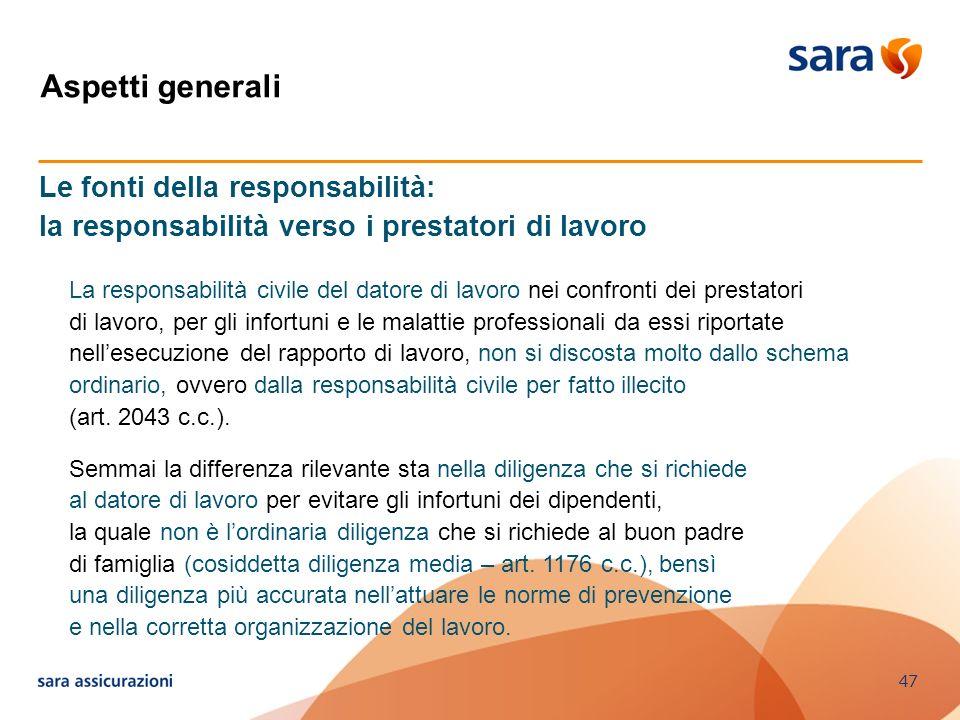 Aspetti generali Le fonti della responsabilità: la responsabilità verso i prestatori di lavoro.