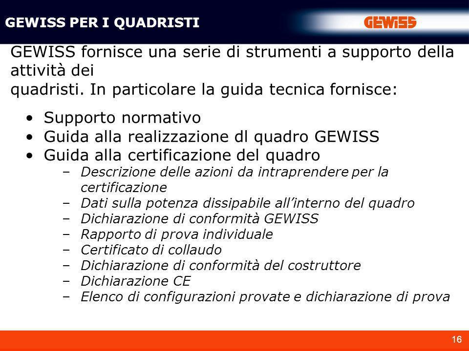 GEWISS fornisce una serie di strumenti a supporto della attività dei