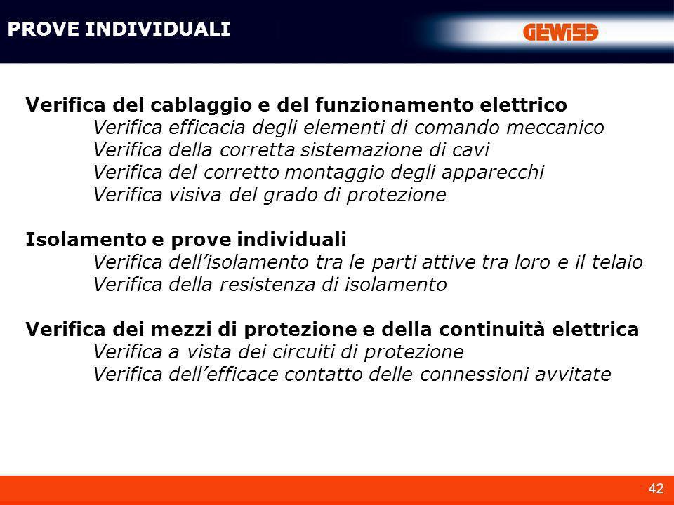 PROVE INDIVIDUALI Verifica del cablaggio e del funzionamento elettrico. Verifica efficacia degli elementi di comando meccanico.