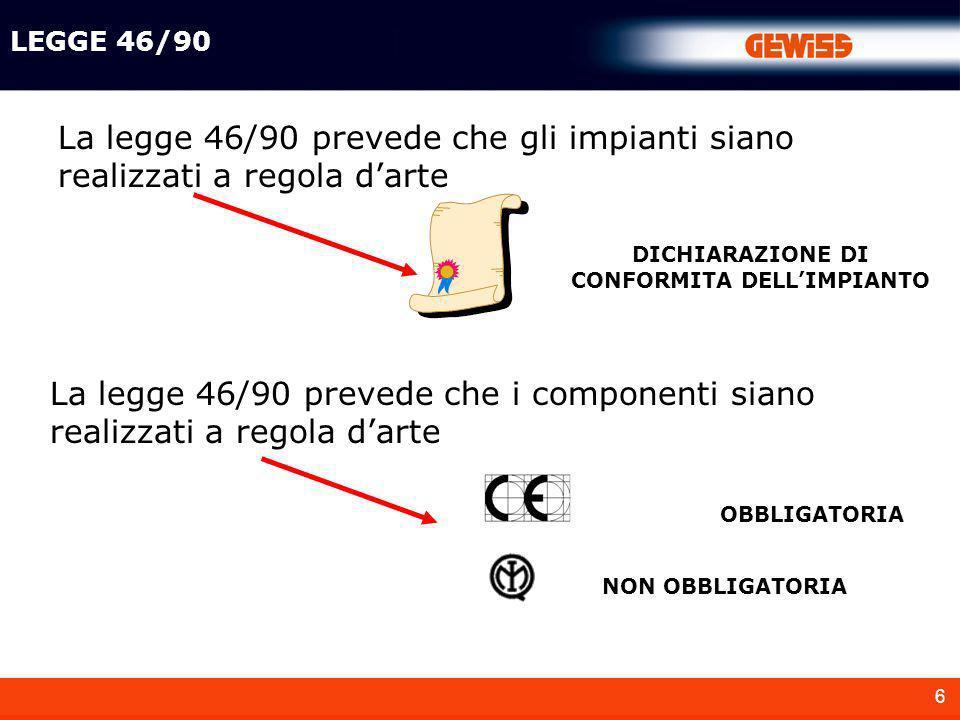 DICHIARAZIONE DI CONFORMITA DELL'IMPIANTO