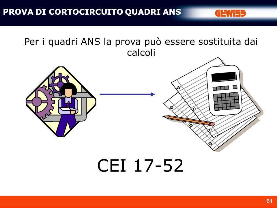 Per i quadri ANS la prova può essere sostituita dai calcoli