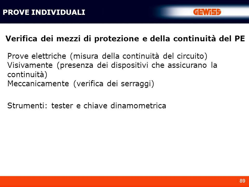 Verifica dei mezzi di protezione e della continuità del PE