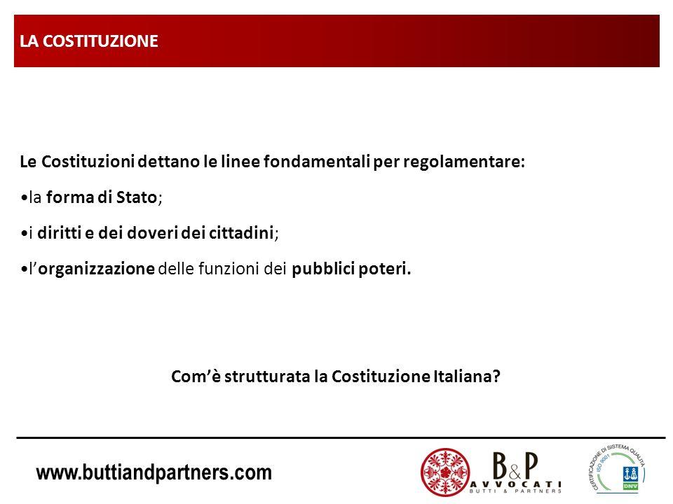 Com'è strutturata la Costituzione Italiana