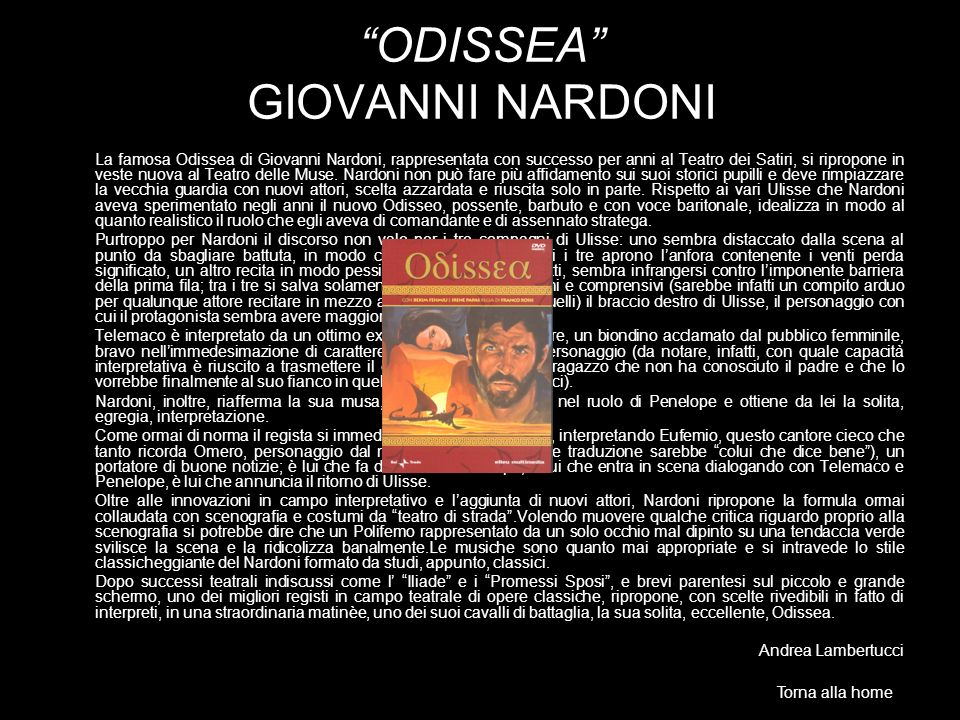 ODISSEA GIOVANNI NARDONI