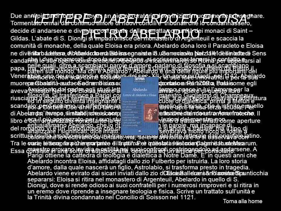 LETTERE DI ABELARDO ED ELOISA PIETRO ABELARDO