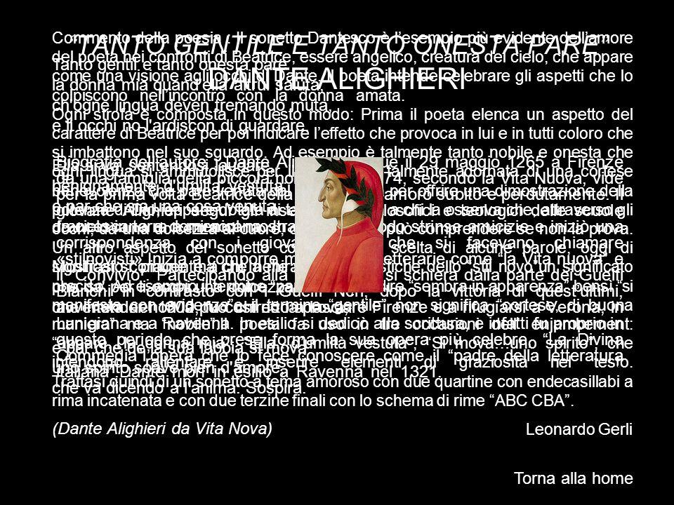 TANTO GENTILE E TANTO ONESTA PARE DANTE ALIGHIERI
