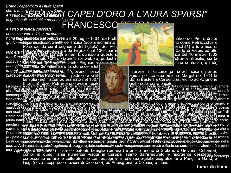ERANO I CAPEI D'ORO A L'AURA SPARSI FRANCESCO PETRARCA