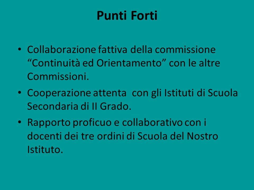 Punti Forti Collaborazione fattiva della commissione Continuità ed Orientamento con le altre Commissioni.