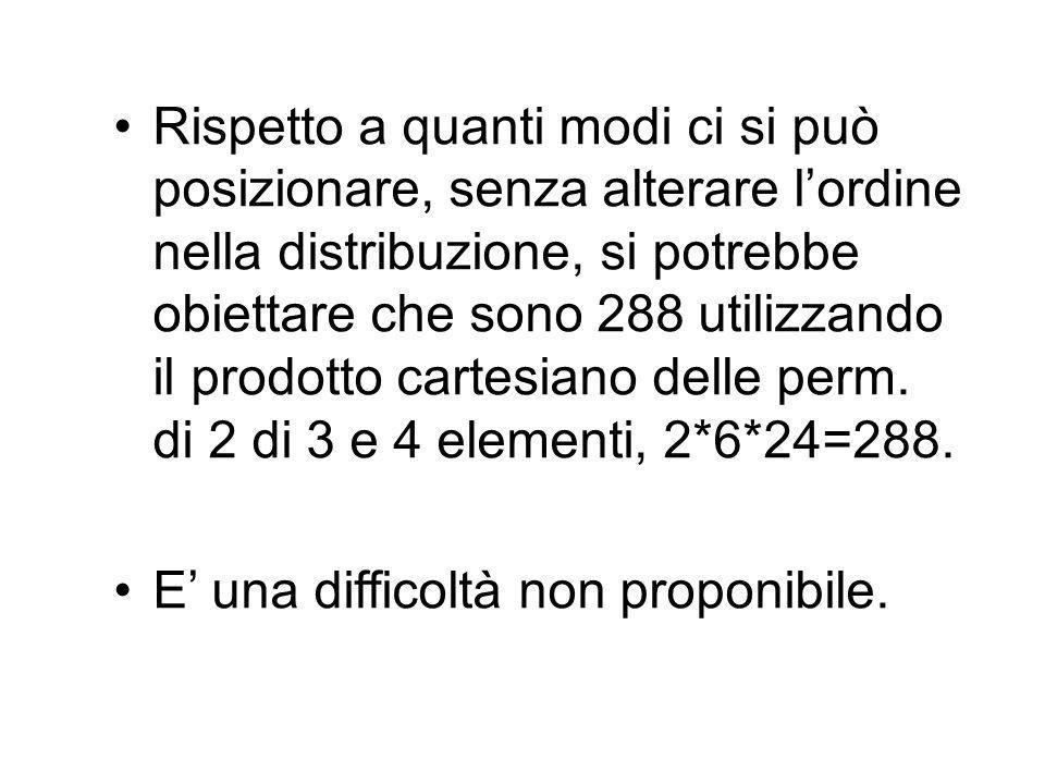 Rispetto a quanti modi ci si può posizionare, senza alterare l'ordine nella distribuzione, si potrebbe obiettare che sono 288 utilizzando il prodotto cartesiano delle perm. di 2 di 3 e 4 elementi, 2*6*24=288.
