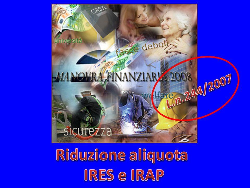 Riduzione aliquota IRES e IRAP