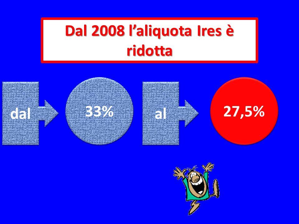 Dal 2008 l'aliquota Ires è ridotta