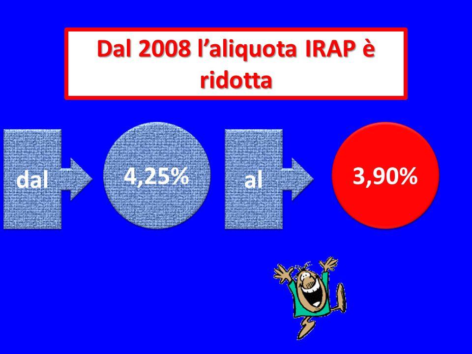 Dal 2008 l'aliquota IRAP è ridotta