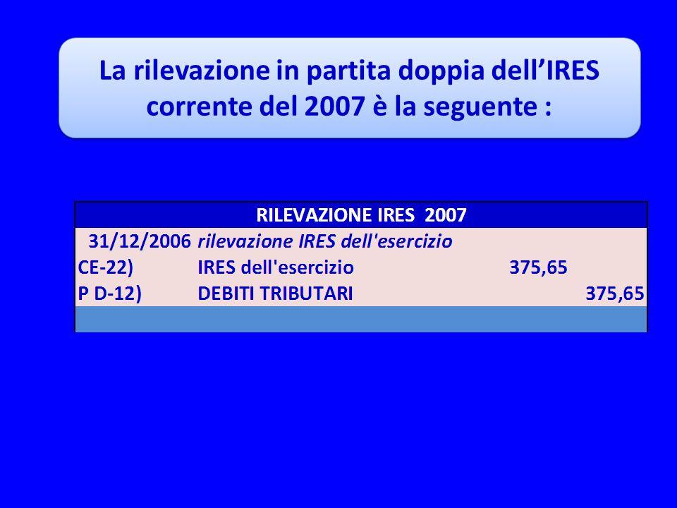 La rilevazione in partita doppia dell'IRES corrente del 2007 è la seguente :