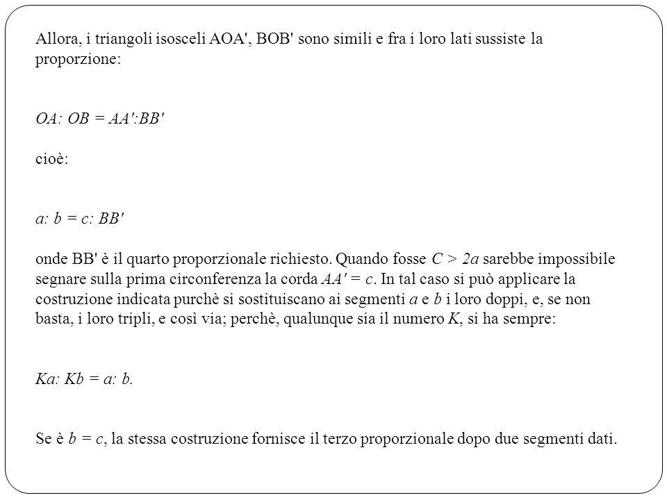 Allora, i triangoli isosceli AOA , BOB sono simili e fra i loro lati sussiste la proporzione: