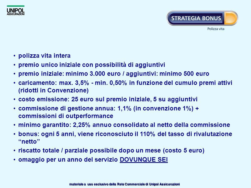polizza vita intera premio unico iniziale con possibilità di aggiuntivi. premio iniziale: minimo 3.000 euro / aggiuntivi: minimo 500 euro.