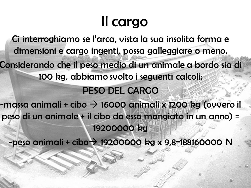 -peso animali + cibo 19200000 kg x 9,8=188160000 N
