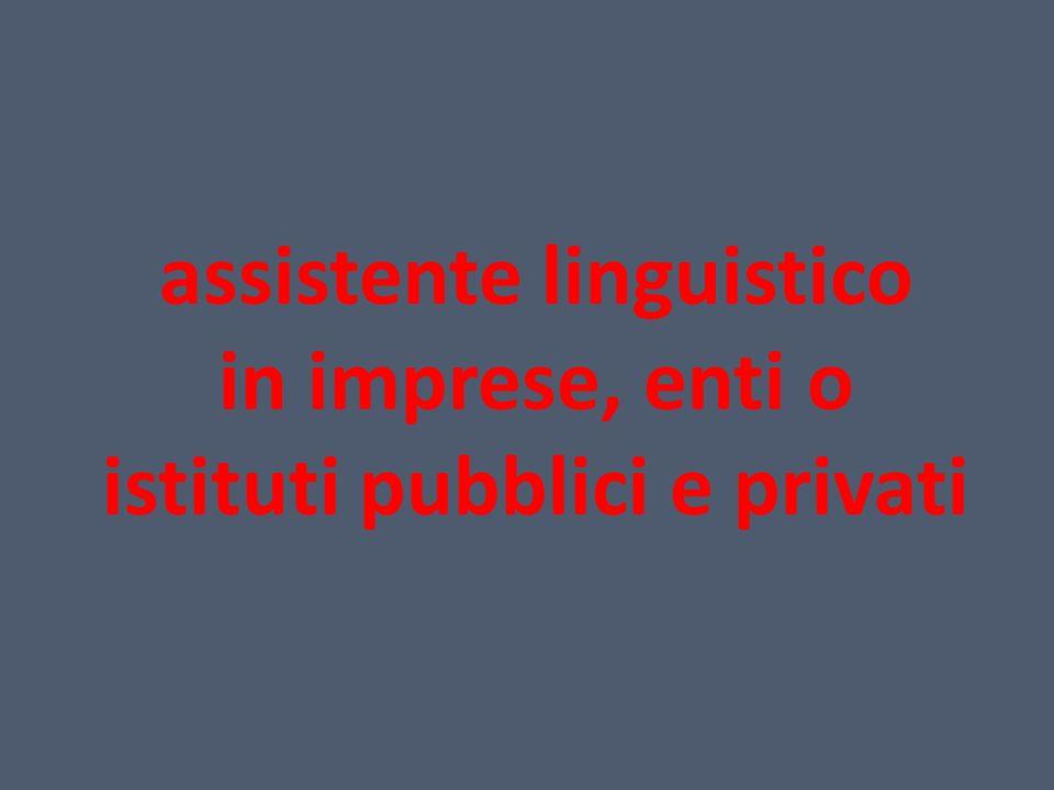 assistente linguistico in imprese, enti o istituti pubblici e privati
