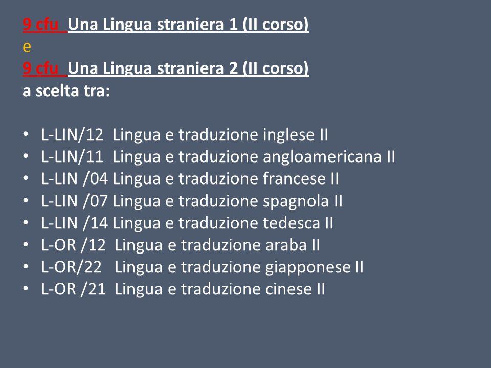 9 cfu Una Lingua straniera 1 (II corso)