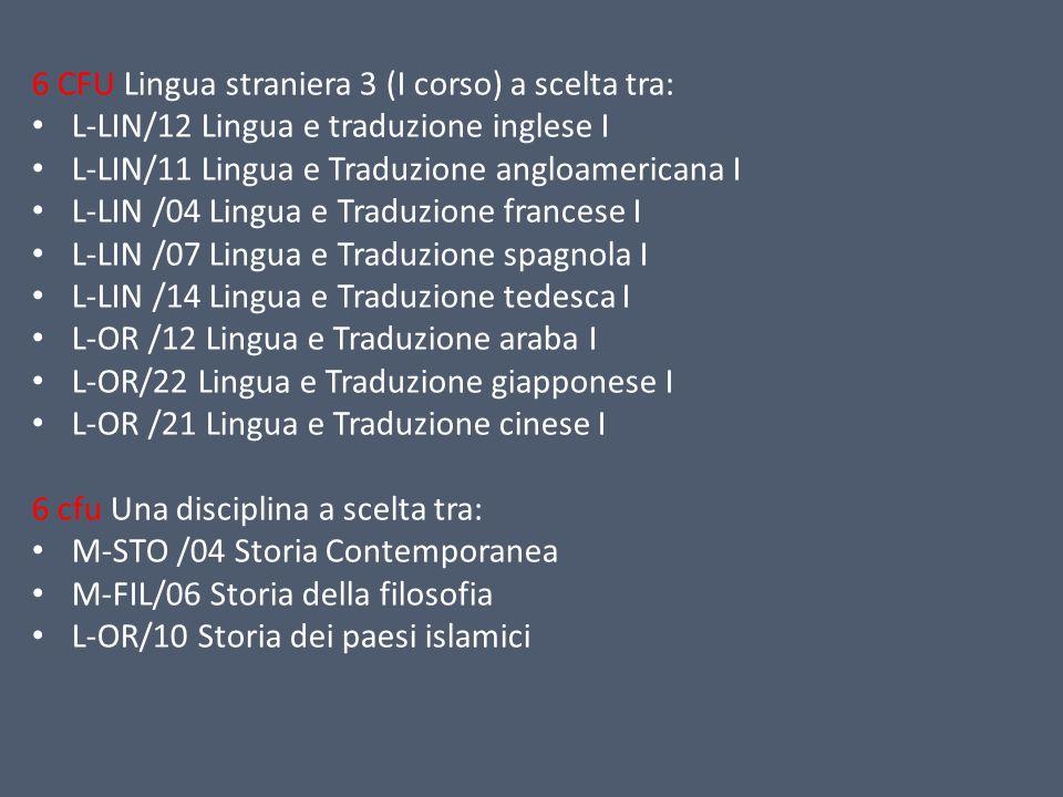 6 CFU Lingua straniera 3 (I corso) a scelta tra: