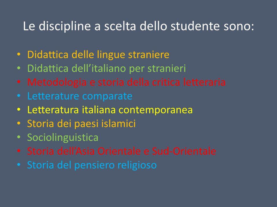 Le discipline a scelta dello studente sono: