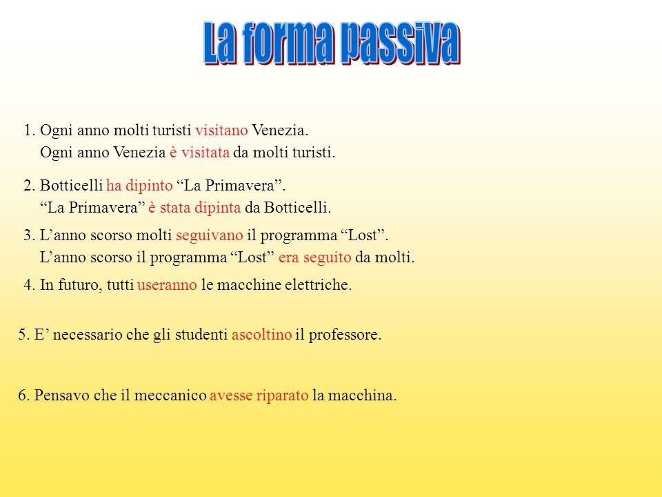 La forma passiva 1. Ogni anno molti turisti visitano Venezia.