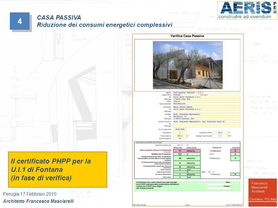 4 Il certificato PHPP per la U.I.1 di Fontana (in fase di verifica)