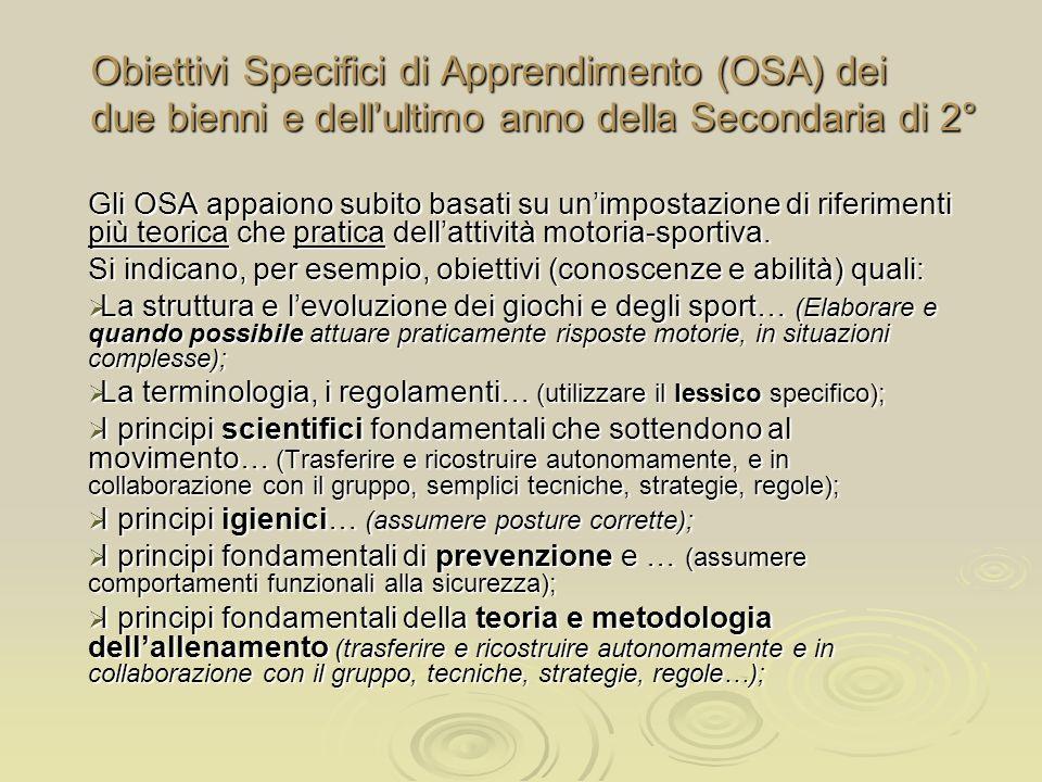 Obiettivi Specifici di Apprendimento (OSA) dei due bienni e dell'ultimo anno della Secondaria di 2°