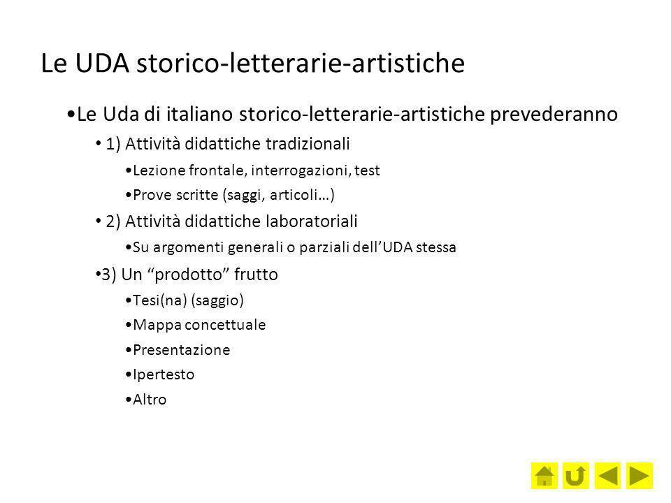 Le UDA storico-letterarie-artistiche