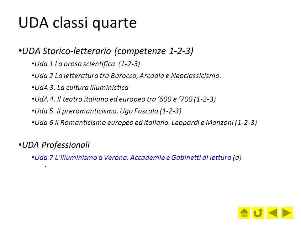 UDA classi quarte UDA Storico-letterario (competenze 1-2-3)
