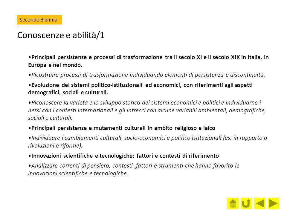 Secondo Biennio Conoscenze e abilità/1.
