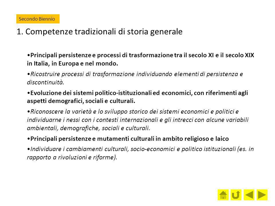1. Competenze tradizionali di storia generale