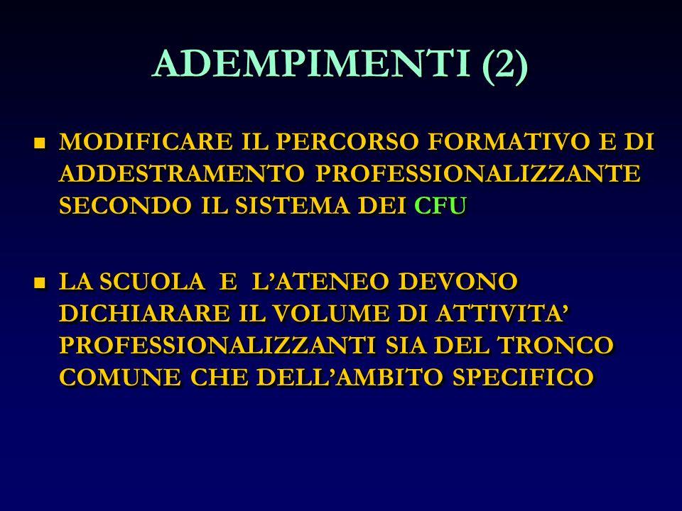 ADEMPIMENTI (2) MODIFICARE IL PERCORSO FORMATIVO E DI ADDESTRAMENTO PROFESSIONALIZZANTE SECONDO IL SISTEMA DEI CFU.