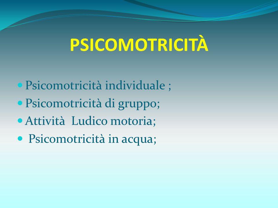 PSICOMOTRICITÀ Psicomotricità individuale ; Psicomotricità di gruppo;