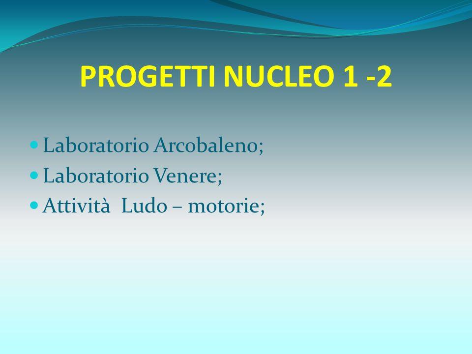 PROGETTI NUCLEO 1 -2 Laboratorio Arcobaleno; Laboratorio Venere;