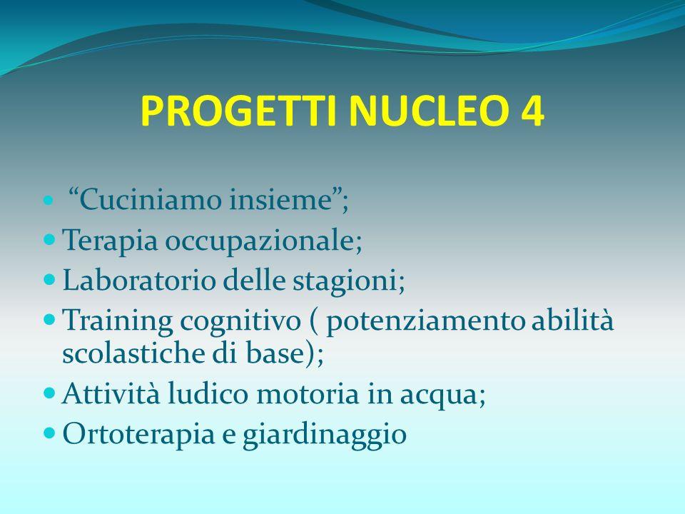 PROGETTI NUCLEO 4 Terapia occupazionale; Laboratorio delle stagioni;