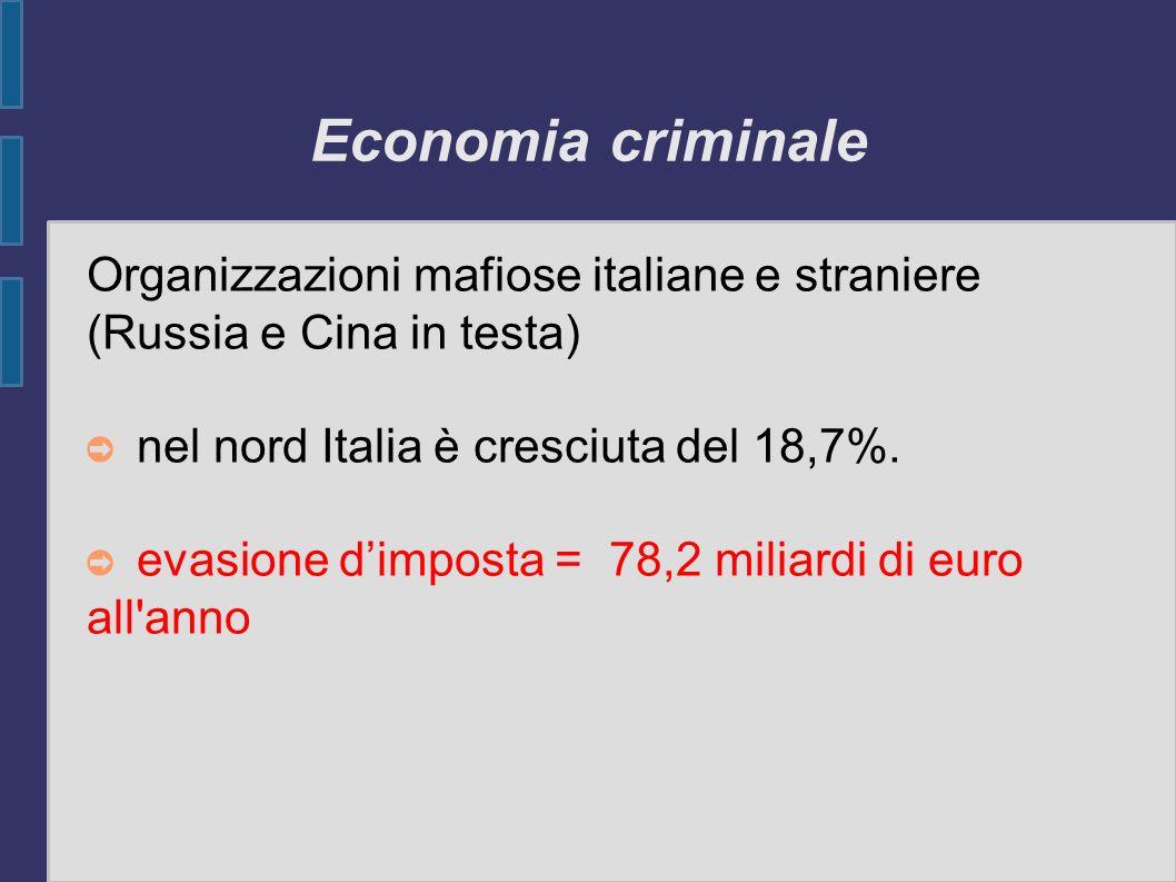 Economia criminale Organizzazioni mafiose italiane e straniere (Russia e Cina in testa) nel nord Italia è cresciuta del 18,7%.