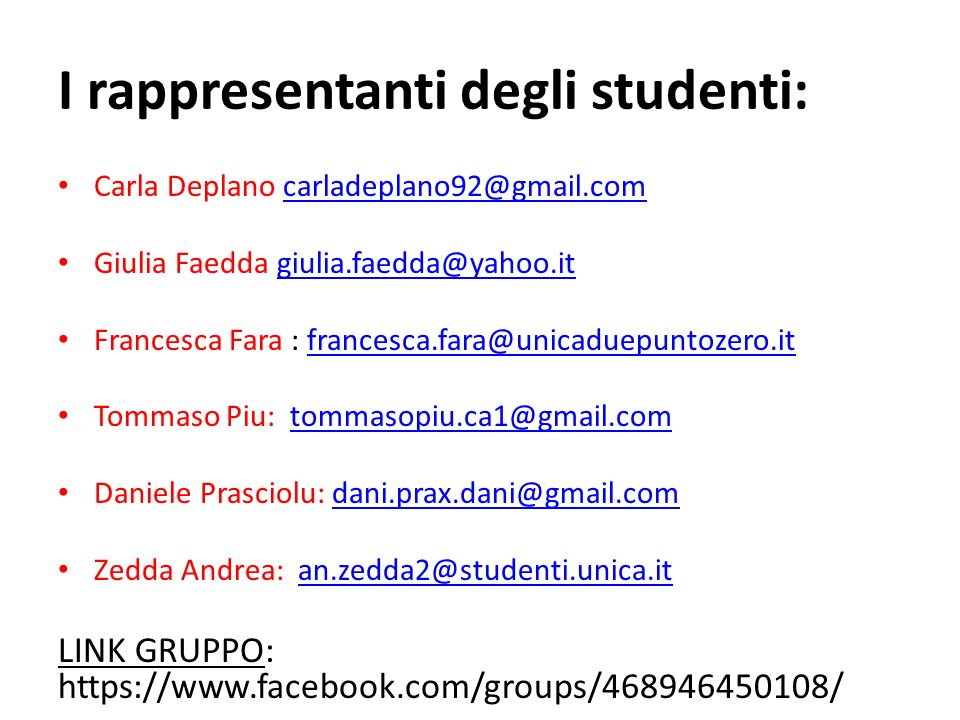 I rappresentanti degli studenti:
