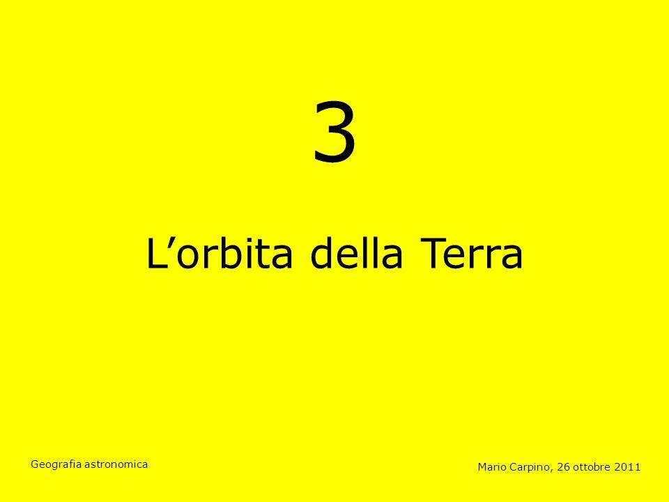 3 L'orbita della Terra. Capitolo 3: Il movimento orbitale dei pianeti, le leggi di Keplero e il movimento orbitale della Terra.