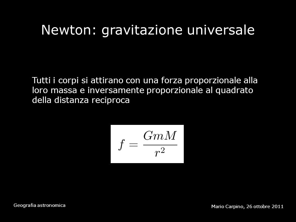 Newton: gravitazione universale