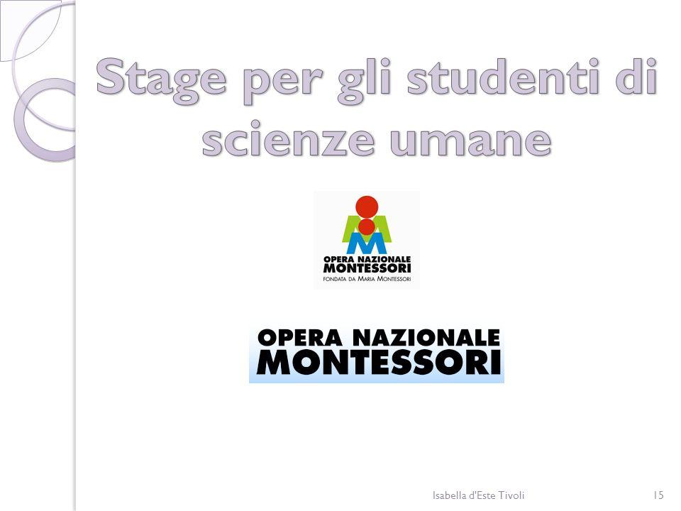 Stage per gli studenti di scienze umane
