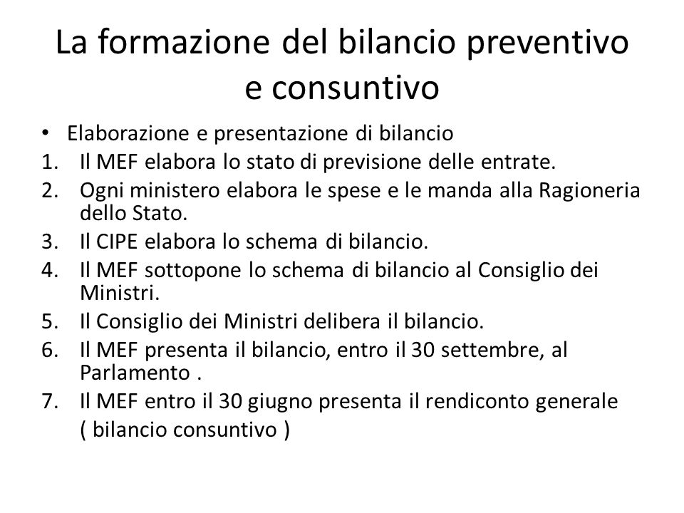 La formazione del bilancio preventivo e consuntivo