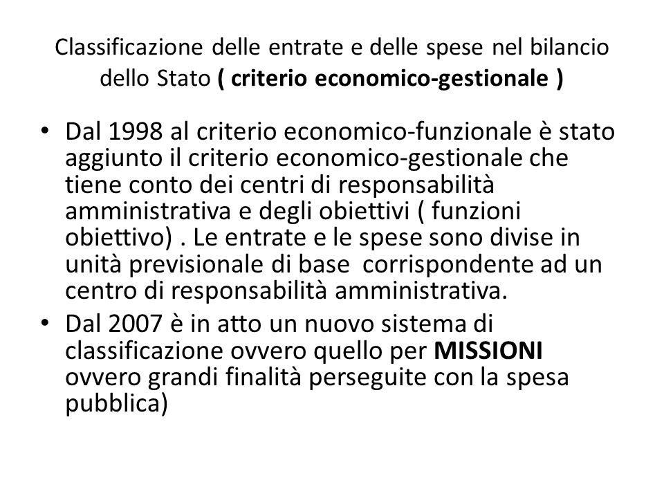 Classificazione delle entrate e delle spese nel bilancio dello Stato ( criterio economico-gestionale )