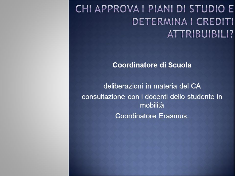 Chi approva i piani di studio e determina i crediti attribuibili