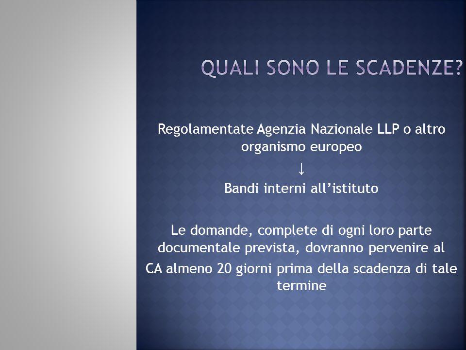 quali sono le scadenze Regolamentate Agenzia Nazionale LLP o altro organismo europeo. ↓ Bandi interni all'istituto.
