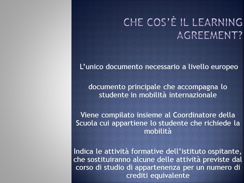 che cos'è il learning agreement