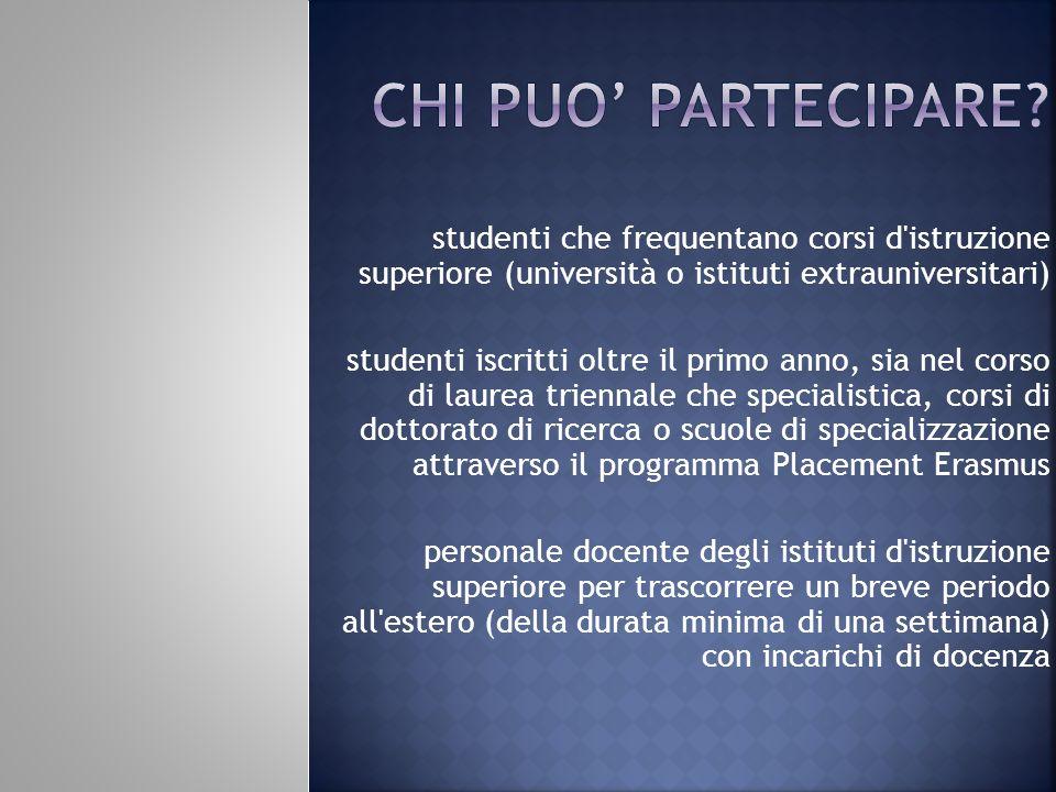 Chi puo' partecipare studenti che frequentano corsi d istruzione superiore (università o istituti extrauniversitari)