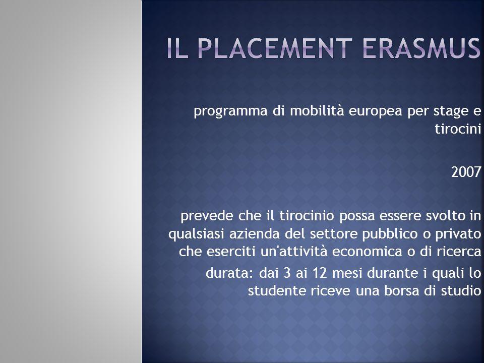 Il Placement erasmus programma di mobilità europea per stage e tirocini. 2007.